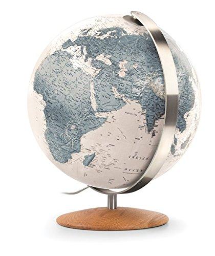 ZFG 3702: Handkaschierter Leuchtglobus 37 cm Durchm, moderne zweifarbige Kartografie cremeweiß/graublau, Meridian Edelstahl, Holzfuß Eiche (Design Globus)