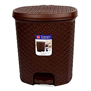 Cello Classic Plastic Pedal DustBin 1, 6 Liters, Brown