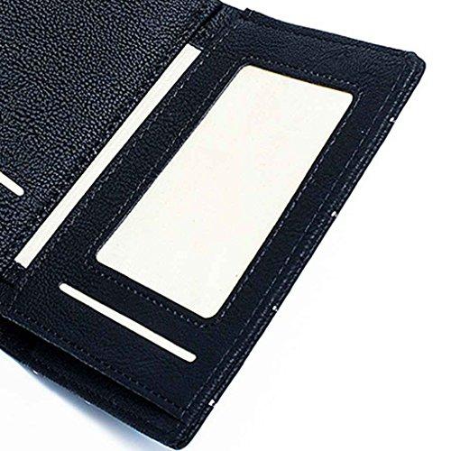 Miaomiao Linea di ricamo in pelle Matte Donna Trifold Portafoglio Portafoglio corta azzurro