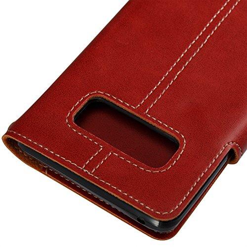 Hülle für Samsung Galaxy Note 8, Tasche für Samsung Galaxy Note 8, Case Cover für Samsung Galaxy Note 8, ISAKEN Farbig Blank Muster Folio PU Leder Flip Cover Brieftasche Geldbörse Wallet Case Ledertas Knopfe Linie Rot