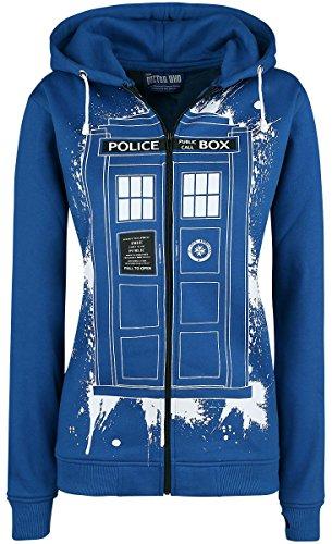Doctor Who Tardis Graffiti Veste à Capuche Femme bleu, Vêtements