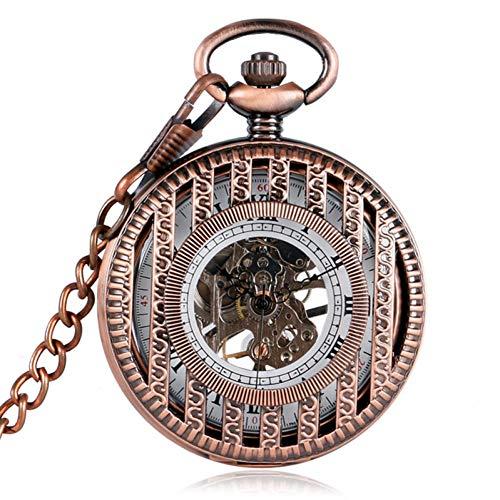 DOIUSNKAFV Streifen Hohle Abdeckung mechanische Taschenuhr Aufziehen Uhr Geschenk für Männer Frauen