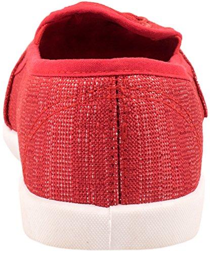 Elara Damen Ballerina | Slip-Ons Freizeit | Flach Bequeme Slipper Flats Rot