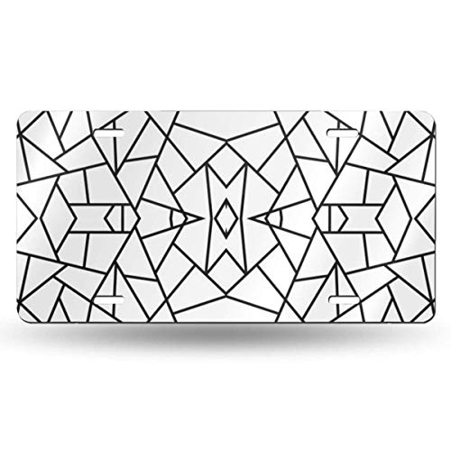 Cara King Abstract Geometric Black On White 612inchs Feel Metal Tin Sign Plaque for Home,Bathroom and Bar Wall Decor Car Vehicle License Plate Souvenir Car Decoration -
