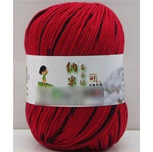 MMRM Mélange fibroïne de soie cachemire needlecraft fil de laine de fibre de pelote - Noir & Rouge