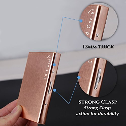Metal Card holder wallet for ladies and men RFID Blocking stop thieves taking money from contactless Stainless Steel Water Resistant 6 Slot Most Reliable Credit Card Protector by Card Genie (Rose Gold)