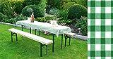 Auflagen Set für Festzeltgarnitur mit 50cm + 70cm Tisch, grün-kariert