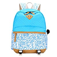 OPJKZSA Navy Blue Floral Fabric Elementary School Backpack Fashion Printing Backpack for Children Sky Blue Flower,sky blue flower,One Size
