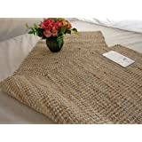 Homescapes - Leather Hemp - Runner - Natural Beige Grey - 66x200cm - Recycled - Eco Friendly - 100% Natural rug - Hall Runner