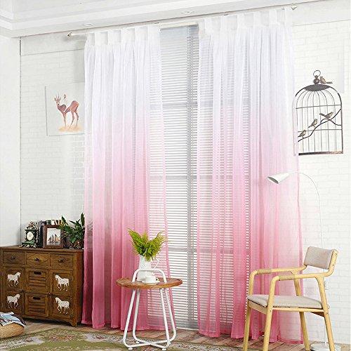 NIBESSER Transparent Farbverlauf Gardine Vorhang Schlaufenschal Deko für Wohnzimmer Schlafzimmer 2 Stück (2er Set 245cmx140cm, Weiß und Rosa) -