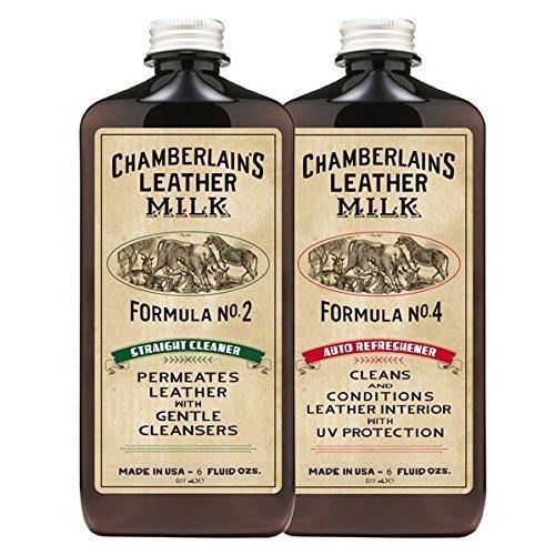 Chamberlain's Leather Milk - Laits nettoyant/assouplissant n° 2 et 4 pour cuir de voiture - avec 2 cotons - naturel/non toxique - 0.18 L