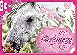 12 Einladungskarten Zum Kindergeburtstag - Motiv Pferde / Pony - für Kinder, Jungen, Mädchen, Party Feier Geburtstagseinladungen im Set