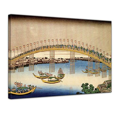 Wandbild - Alte Meister Katsushika Hokusai - Temma-Brücke in der Settsu Provinz - 40x30cm einteilig - Leinwandbild - Bild auf Leinwand - ()