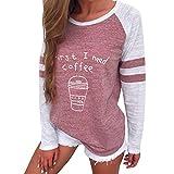 Kavitoz Damen Patchwork T Shirt Pullover Frau Gestreift Schick Elegant Sport Sweatshirt Blusen Tops mit S�� Muster (M, Rot) Bild