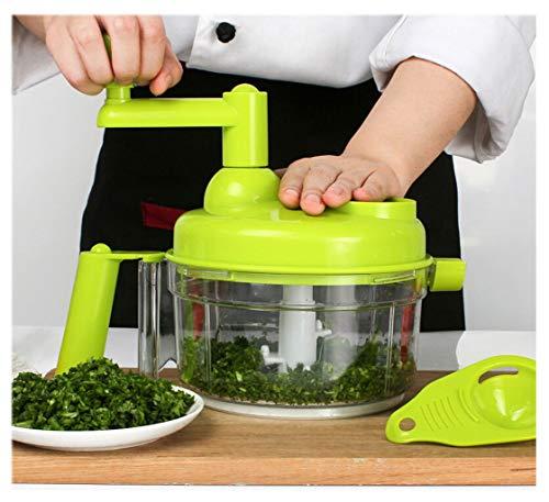 XGG Manueller Küchenmaschine-Mixer, Handbetriebene Kurbel Universal-Mixer Fleischwolf Cutter mit transparentem Behälter