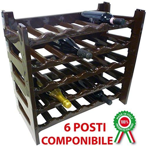 Porta bottiglie componibile modulare impilabile cantinetta in plastica 6 posti M