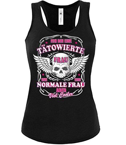 Ich Bin eine tätowierte Frau wie eine Normale Frau Aber viel Cooler 4550 Tattoo Damen Fun Tank Top Funshirt Schwarz XL