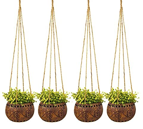 exotique Elegance Lot de 4Décoration de jardin 10,2cm Coquille de noix de coco à suspendre Pot de fleurs Pot de fleurs (Taille M).