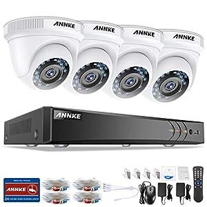 sistema de circuito cerrado: ANNKE Kit Sistema de Seguridad CCTV Cámara de vigilancia Luz estelar 4CH 3MP H.2...