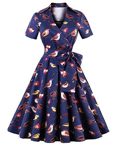 ZAFUL Robe Vintage années 50 's Style Audrey Hepburn Rockabilly Swing Robe de soirée cocktaile Robe de Bal à Manches Courtes (L, Bleu marine Oiseau)