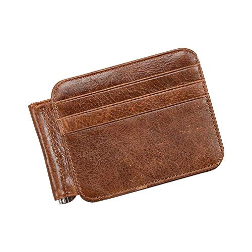 CWeep Wallets RFID Bifold Wallets for Men Super Slim Wallet Genuine Leather RFID Blocking Money Clip Minimalist Front Pocket Wallet Wonderful Gift (Dark Brown)