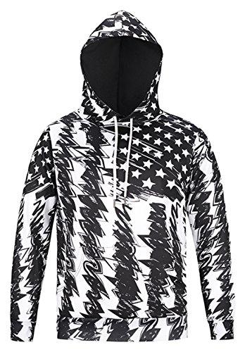 Pizoff Unisex Hip Hop Sweatshirts druck Kapuzenpullover mit Farbkleks 3D Digital Print american usa flug (Air Flug Jordan)