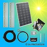 100W Solaranlage für Wohnwagen Komplett-Set 100W Solarmodul Inselsystem inkl. Laderegler 12V Wohnmobil Spoiler