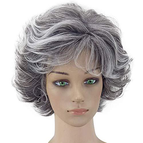 Kostüm Supersexy - 11 ZOLL kurz Silber grau synthetische Perücken flauschig Little gewellt Kostüm Karneval Wigs