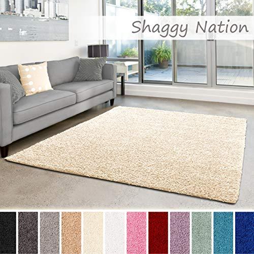 Shaggy-Teppich | Flauschiger Hochflor für Wohnzimmer, Schlafzimmer, Kinderzimmer oder Flur Läufer | einfarbig, schadstoffgeprüft, allergikergeeignet | Creme - 40 x 60 cm - Creme Läufer Teppich