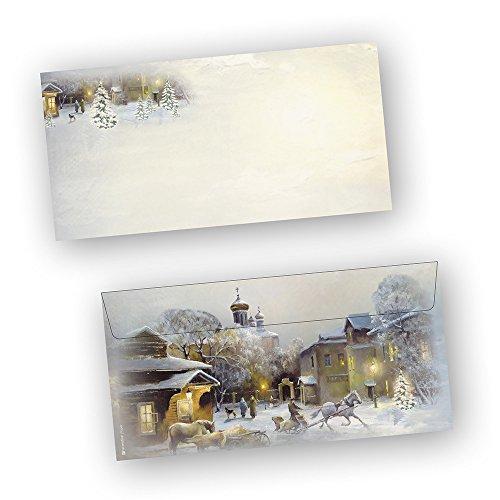 Briefumschläge Weihnachten WINTER-AQUARELL 50 Stück DIN lang ohne Fenster beidseitig bedruckt für...
