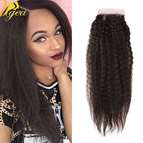 Ugeat Noir Naturel Kinky Straight Lace Closure Virginal Tissage de Cheveux Humains Bresilien avec Part Libre 8\\