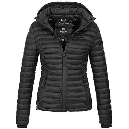 Marikoo SAMTPFOTE Damen Stepp Jacke Daunen Look gesteppt Übergang XS-XXL 11-Farben, Größe:L;Farbe:Schwarz (Gesteppte Jacke Frauen Schwarz)