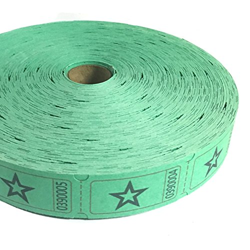 1 X 2000 Green Star Single Roll Consecutively Numbered Raffle Tickets by 50/50 Raffle Tickets (Green Star Tickets)