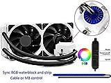 DeepCool Captain 240EX RGB Sistema di Raffreddamento a Liquido,Radiatore da 240 mm,1 Strisce RGB,2X120mm PWM Ventole Silenziosa,AM4 Compatibile,3 Anni di Garanzia