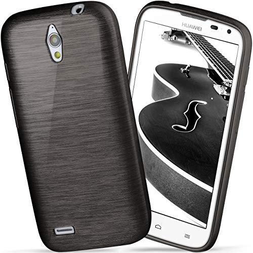 moex Huawei G610 | Hülle Silikon Schwarz Brushed Back-Cover TPU Schutzhülle Ultra-Slim Handyhülle für Huawei Ascend G610 Case Dünn Silikonhülle Rückseite Tasche