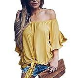 aus der Schulter Gestreift Chiffon Bluse Frauen Flare Ärmel Vorne Fliege T-Shirt (Farbe : Yellow, Größe : M)