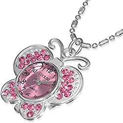 Fashion Alloy Stainless Steel Butterfly Pocket Watch Girls Pendant Necklace
