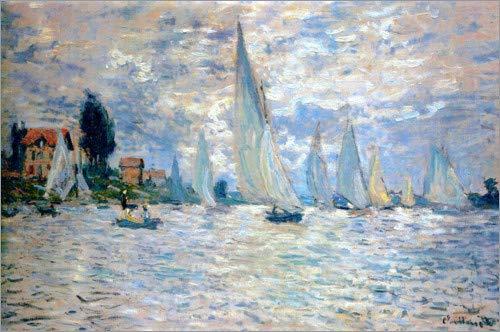 Poster 90 x 60 cm: Regatta in Argenteuil von Claude Monet - hochwertiger Kunstdruck, neues Kunstposter - Claude Monet-regatta Bei Argenteuil
