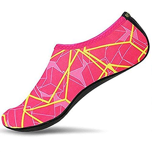 SITAILE Sommer Aqua Schuhe Barfuß Weich Wassersport Yoga Schuhe Strandschuhe Schwimmschuhe Surfschuhe für Damen Herren,Rosa,M,EU36-37