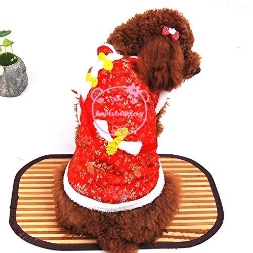 Pet Katze Hund Kleidung Neue Jahr Frühling Kostüm mit Geld Tasche Baumwolle Coat Pullover Kleiner Hund Kleidung XS S M L XL (Hunde Geld Tasche Kostüm)