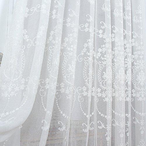 elegantstunning Vorhang viktorianischen Damast Blumen gestickten weißen schieren Falte Ainest Französisch Land Panel 140 * 214 (55` * 84`) (Schiere Weiß 84 Vorhang)