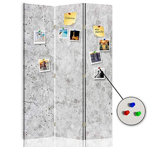Feeby Biombo Tablero de Corcho Abstracción 3 Paneles 360° Mármol Piedra Gris 110x175 cm
