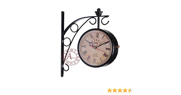 buy akhandstore victoria 6 inch clock dia retro wall clock double sided station clock railway clock online at low prices in india amazonin