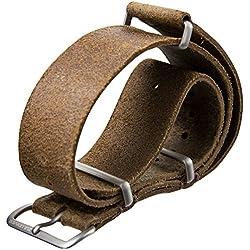 ZULUDIVER Genuine Leather Watch Strap NATO Brown 20mm