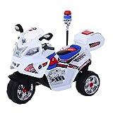 Homcom Moto Scooter électrique pour Enfants modèle Policier Fonctions sirène et gyrophare