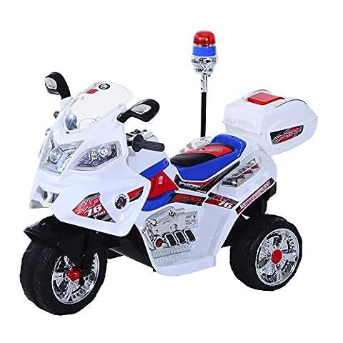 HOMCOM Moto Electrique pour Enfant 6V 3KM/H avec Sirène et Phares 112 x 51 x 73cm Plastique Blanc
