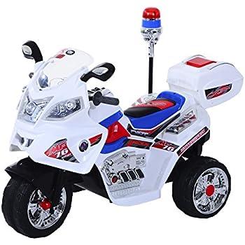 MOTO ELETTRICA PER BAMBINI 12V SUPER POLICE CON SUONI E LUCI A LED BIANCO 815