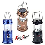 King shine LED Solar Emergency Camping Lantern with Charging Cable (Multicolour, Plastic)
