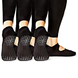 LA Active Calze Presa Antiscivolo Cotone – Per Yoga Pilates Danza Sbarra - Ballet (Noire Black x 3)