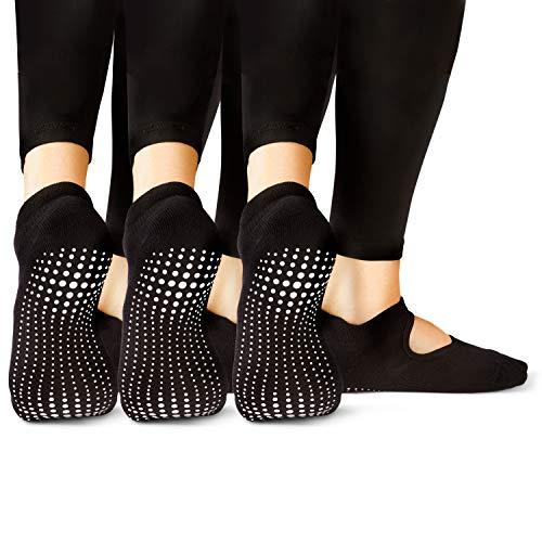 LA Active Grip Socken - Yoga Pilates Balletstange Ballet Abs Noppen Rutschfeste (Schwarz x 3)